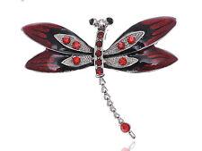 Vintage Painted Enamel Wings Crystal Dragonfly Small Wings Flying Pin Brooch