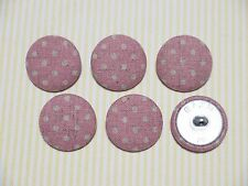 6 Country Dots Fabric Covered Buttons - Pink (30mm)