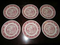 "6 Vintage Red Pink Willow Ware Royal China Underglaze 6"" Saucers Small Plates"