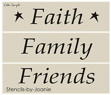 3 pc STENCIL Faith Family Friends Country Prim Home Decor Craft Signs Art Blocks