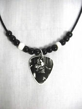 YOUNG SINGING ELVIS PRESLEY BLACK & WHITE PHOTO GUITAR PICK PENDANT ADJ NECKLACE
