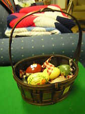 Beautiful Collection of 10 Handpainted Wood Eggs Ornaments with Basket.Sale