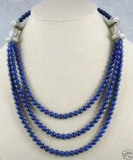 "Beautiful! Tibet silver 6mm Lapis Lazuli Bead Necklace AAA 17""-21"""