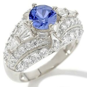 HSN Victoria Wieck Absolute & Created Sapphire Dome Sterling Silver Ring 9 $298