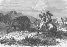 USA. Buffalo hunting 1890 old antique vintage print picture