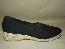 "WOMENS WORN ONCE ""GRASSHOPPERS"" BLACK CANVAS JUTE WEDGE HEEL SIZE 8 M EXCELLENT"