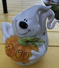Blue Sky Clayworks Ghost with Orange Pumpkin Halloween Tealight Candle 2020 🎃