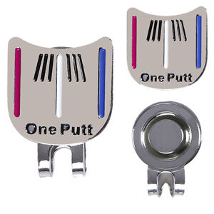 Golf Ball Marker Putting Alignment Aiming Tool with Magnetic Hat Clip Silver UK