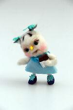 """Unique handmade aiguille feutrage Art FANTASY CREATION Hibou poupée """"Kitty"""" chocolat"""