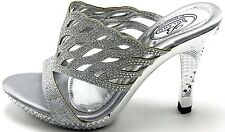 Women's Red Silver Black Killer Wedge Peep Toe Dressy Prom Sandal Shoes Sz 5-10