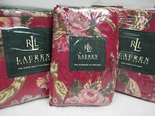 Ralph Lauren 4pc Danielle Marseille Red Floral Ruffled Sheet Set - Queen