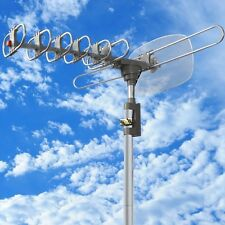 360 Rotation Outdoor Digital Amplified Antenna TV DTV VHF HDTV UHF HD FM Rotor