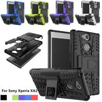 Hybrid Armor Hard Case Shockproof Stand Rugged Phone Cover For Sony Xperia XA2