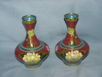 Matching Pair Chinese Cloisonné Vase Brown Flower Blue Green Gold Vintage Copper