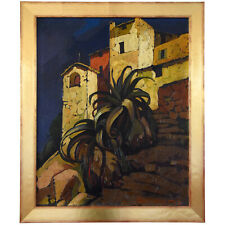 Cesare Bonanomi Art Deco painting Italian village with palm tree 1930