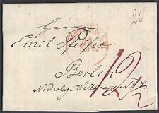 NETHERLANDS 1829 GERMANY AMSTERDAM DATED CANCEL IN RED 12 1/2d RATE TO BERLIN LE
