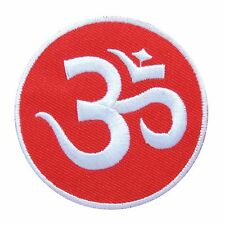 Small Red Aum Om Ohm Lotus Infinity Hindu Hindi Yoga Trance Iron on Patch #1591