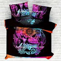 Indian Cotton Queen Duvet Cover Quilt Cover Comforter Head Skull Tie Dye Doona