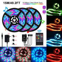 5/10/15M Music RGB LED Strip Lights 3528 SMD Tape+ Sound Sensor IR Remote+ Power