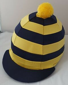 RIDING HAT COVER - NAVY & YELLOW HOOPS WITH YELLOW POMPOM