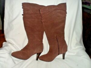 Hot In Hollywood Women's Brown Leather Suede Boots 8.5M - NWOT