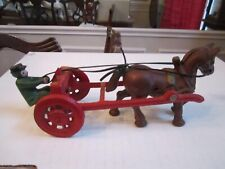 "ANTIQUE CAST IRON SINGLE HORSE & CART DRIVER SET - HEAVY - 8 1/4"" LONG"