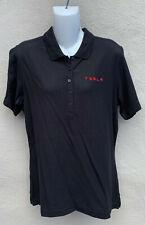 New Tesla Motors Womens 5 Button Short Sleeve Corp Polo Shirt Black Large L NWT