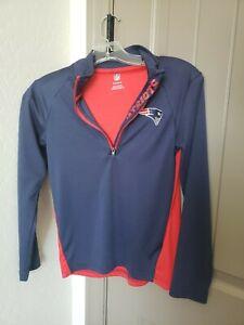 NFL Women's Patriots 1/4 Zip Collared Long Sleeve lightweight Top Size Small