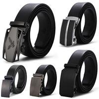 Men's Dress Belt Microfiber Leather Exact Fit Automatic Buckle Ratchet Belt