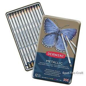 Derwent Metallic Pencil Set 12 With Tin 0700456