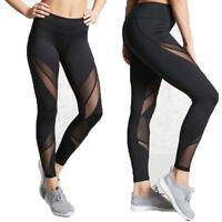 Women's High Waist Black Mesh Leggings Gym Sportswear Yoga Pants Running Fitness