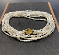14k Gold Pearl Multi-Strand Necklace