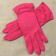 Vtg 60's Ladies Hot Pink Short Nylon Gloves (Small or Extra Small)