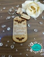 Personalised Wooden Keyring Mummy Mum Nana WONDER WOMAN Gifts Mothers day Xmas