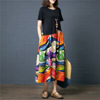 Summer Women Fashion Casual A Line Cotton Linen Maxi Boho Tunic Long Dress Plus