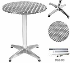 Round Modern Home Bar Table Pub Bistro Patio Stainless Steel Adjustable Dining