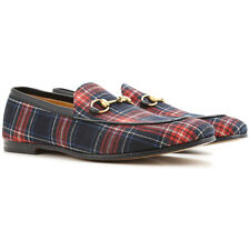 $1650 GUCCI Men BLUE RED PLAID LEATHER FABRIC LOAFERS ITALY DRESS GG SHOES  8