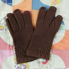 Vtg Stretchies Brown Wristlet Gloves Stretch Knit Made In Italy Mod Pin Up 7 in