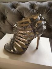 JIMMY CHOO 'Glenys' Silver Strappy high Heels Cage Sandals Size UK 4.5 Eu 37.5