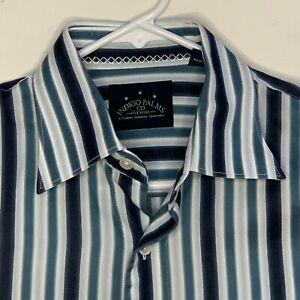 Indigo Palms Mens Designer Shirt Striped LS Blue White Medium