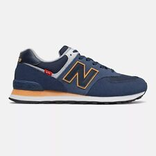 NEW BALANCE 574 Scarpe Uomo Sneakers Suede Textile BLUE NAVY YELLOW ML574SY2