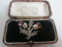 VINTAGE 925 STERLING SILVER SCOTTISH AMETHYST AMBER GLASS THISTLE BROOCH PIN