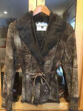 BERGAMA FINE FURS-Fur Rabbit  Belted Coat Jacket Size Small