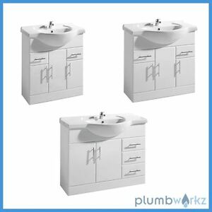 White Gloss Bathroom Vanity Unit Basin Sink Compact Cloakroom Cabinet Units