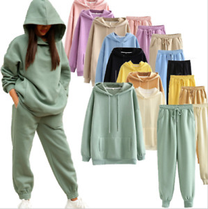 Fashion Casual Plus Velvet Thick Hooded Ladies Sweater Loose Top Trousers Suit