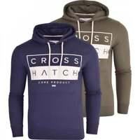 Crosshatch Designer Mens Signature Logo Hooded Top- Fleece Hooded Sweatshirt