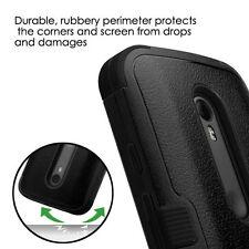 For MOTOROLA MOTO G 3 3rd GEN Slim Hybrid Tuff Hard Protective Case Cover BLACK