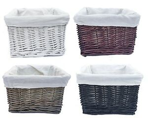 22x22x14.5cm Small Wicker Kitchen Easter Craft Office Storage Basket With Lining