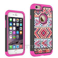 iPhone 6 6S Aztec Tribal Free Spirit Hard Soft Hybrid Case Cover - Hot Pink