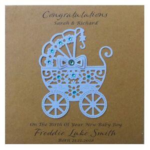 Handmade PERSONALISED New Baby Boy Card